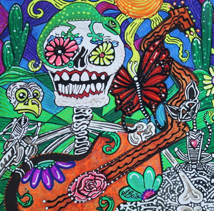 The Happy Dead - © 2018 dayofthedead, sugar skulls, skull, flowers, reptiles, cat, owl, bird, skeletons, bones, death, allsaintsday, allsoulsday, los muertos, Mexico, Mexican, holiday, beliefs, believe, loved ones, colorful, cactus, desert, southwest, spanish, christianity, butterflies, butterfly, monarch, Barbosa Online Artworks