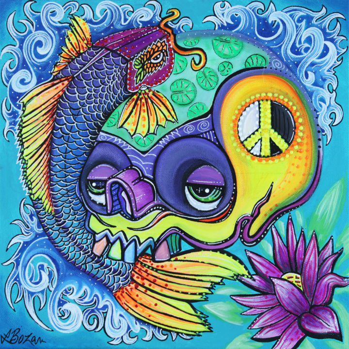 Dragon's Gate - Painting,  12x12x1 in ©2018 by Laura Barbosa -                                                                                                                                Modernism, Naive Art, Outsider Art, Pop Art, Animals, Colors, Culture, Fantasy, Fish, koi fish, skull, lotus flower, sacred geometry, peace sign, yin yang, tao, symbols, upstream, story, legend, myth, Japan, Asian, China, yellow river, waterfall, colorful, rainbow colors, waves, surf, surfer