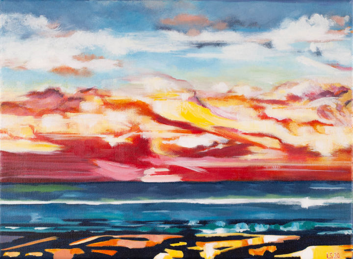"""Painting titled """"De Haan Sunset"""" by Laura K Smith Paintings, Original Art, Acrylic Mounted on Stretcher frame"""