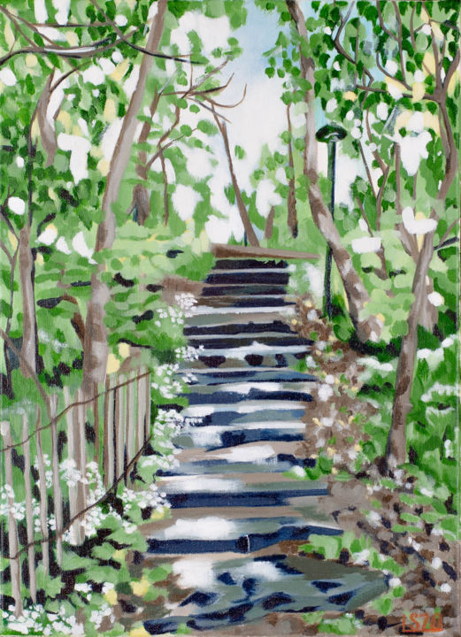 """Painting titled """"Forest Staircase"""" by Laura K Smith Paintings, Original Art, Acrylic Mounted on Stretcher frame"""