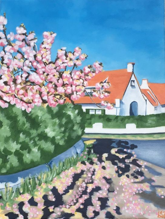 """Painting titled """"De Haan in Blossom"""" by Laura K Smith Paintings, Original Art, Acrylic"""