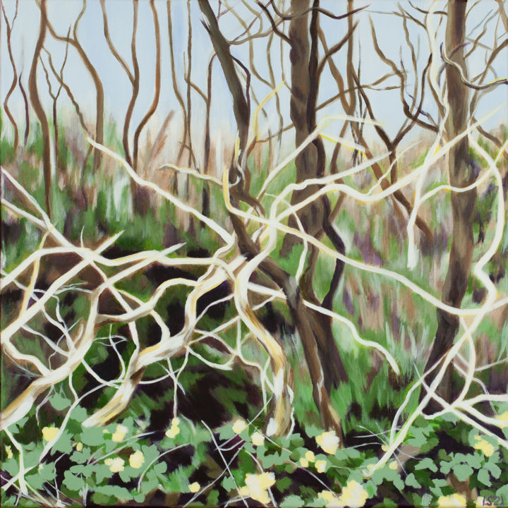 """Painting titled """"Sculptural Trees"""" by Laura K Smith Paintings, Original Art, Acrylic Mounted on Stretcher frame"""