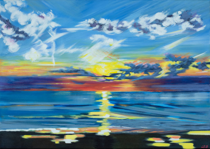 """Painting titled """"North Sea Sunset"""" by Laura K Smith Paintings, Original Art, Acrylic Mounted on Stretcher frame"""