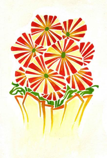 """Collages titled """"Fall Flowers II"""" by Laura Lee Gulledge, Original Art,"""