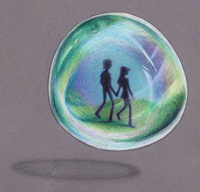 """Collages titled """"In a Bubble"""" by Laura Lee Gulledge, Original Art,"""