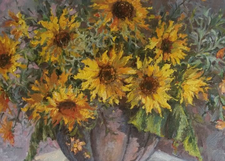 """Painting titled """"Girasoli di Fuoco"""" by Laura Luigina Andreuzzi, Original Art, Oil Mounted on Wood Panel"""