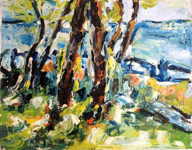 Lungomare - Painting,  24x30 cm ©2012 by Laura Tedeschi Pittrice -                            Abstract Expressionism, alberi dipinti ad olio su tela