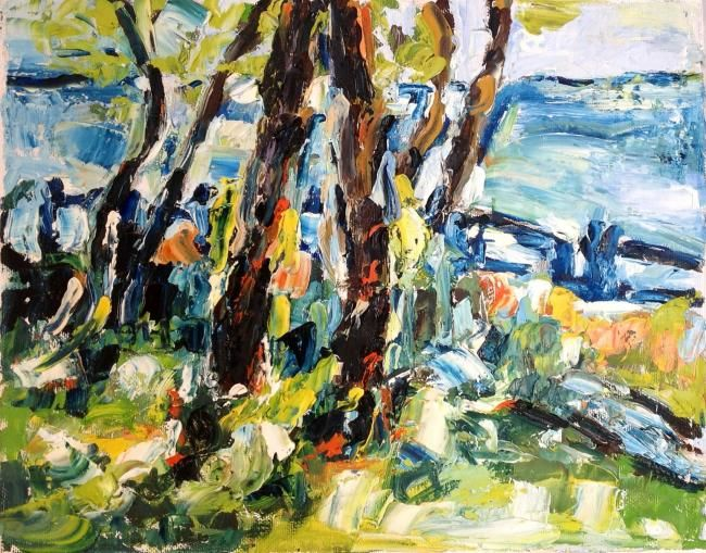 Lungomare - Painting,  9.5x11.8 in, ©2012 by Laura Tedeschi Pittrice -                                                                                                                                                                          Abstract, abstract-570, alberi dipinti ad olio su tela