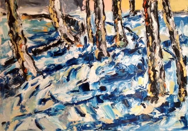 Effetto neve sul lungolago - Painting,  30x42 cm ©2012 by Laura Tedeschi Pittrice -                            Abstract Expressionism, alberi dipinti ad olio su tela