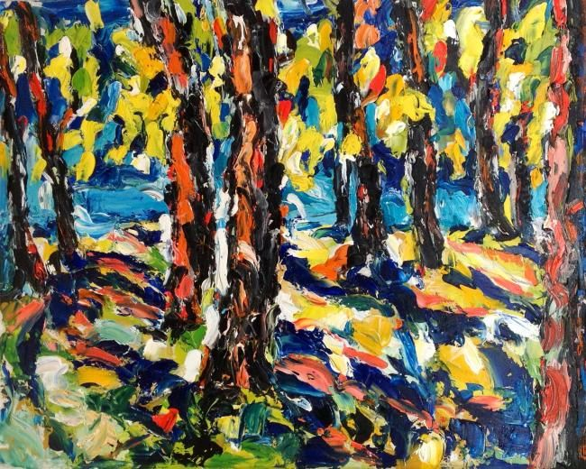 Muralto il lungolago - Painting,  24x30 cm ©2012 by Laura Tedeschi Pittrice -                            Abstract Expressionism, alberi dipinti ad olio su tela