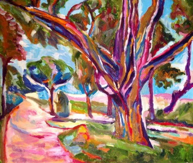Il platano - Painting,  50x60 cm ©2012 by Laura Tedeschi Pittrice -                            Abstract Expressionism, alberi dipinti ad olio su tela