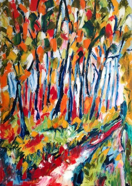 Bosco - Painting,  70x50 cm ©2012 by Laura Tedeschi Pittrice -                            Abstract Expressionism, alberi dipinti ad olio su tela