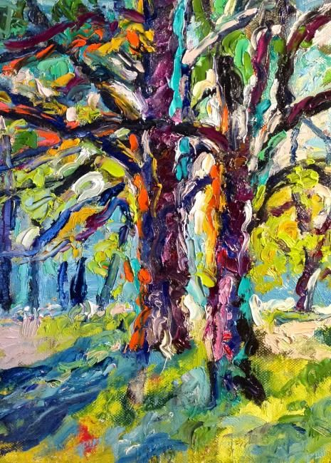 Due alberi nella luce - Painting,  11.8x9.5 in, ©2012 by Laura Tedeschi Pittrice -                                                                                                                                                                          Abstract, abstract-570, alberi dipinti ad olio su tela