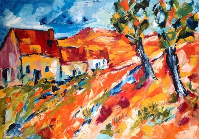 Provenza - Painting,  50x70 cm ©2012 by Laura Tedeschi Pittrice -                            Abstract Expressionism, paesaggio dipinto ad olio su tela
