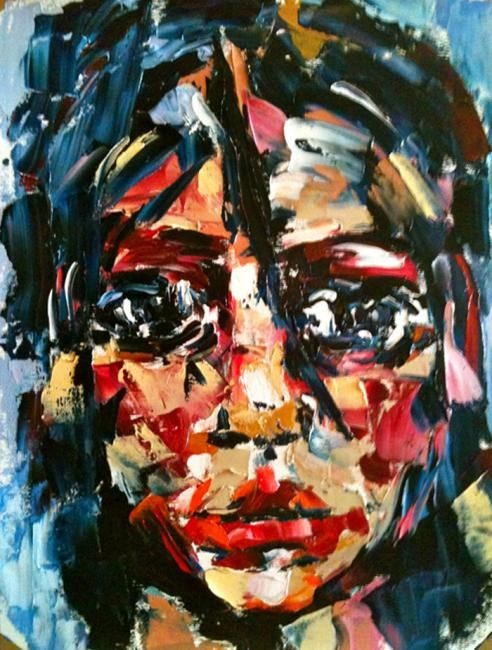 Abaut face - Painting,  40x30 cm ©2012 by Laura Tedeschi Pittrice -                            Abstract Expressionism, viso dipinto ad olio