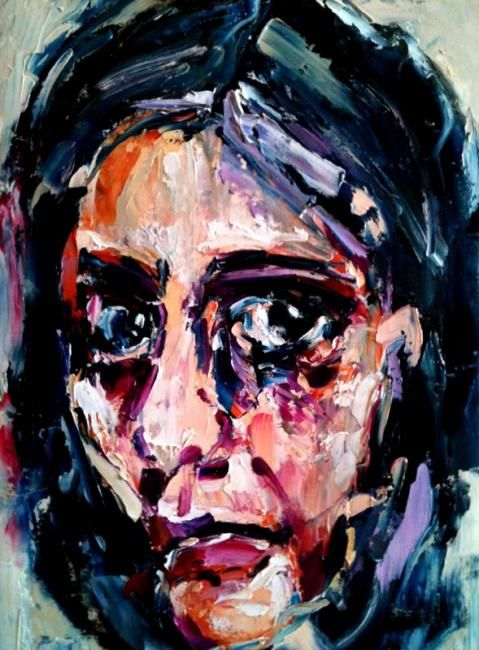 Abaut woman - Painting,  40x30 cm ©2012 by Laura Tedeschi Pittrice -                            Abstract Expressionism, viso dipinto ad olio