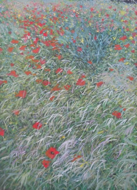 Coquelicots-74X105-900_O_.jpg - Painting,  74x105 cm ©2012 by Laure Boin Watorek -            huile sur toile - oil on canvas