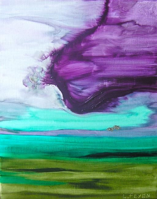 sans titre 000 000 0042 - Painting,  41x33 cm ©2010 by Laure Feyen -                            Contemporary painting, PAYSAGE