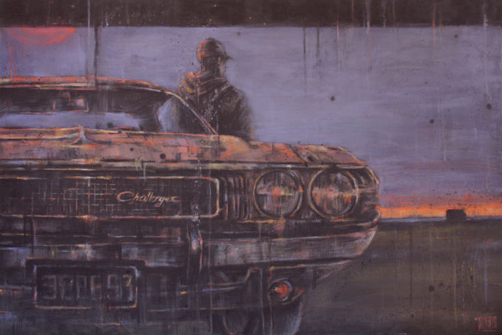 Synopsis - Painting,  80x120x4 cm ©2017 by Laure Mascarello -                                        Contemporary painting, Automobile