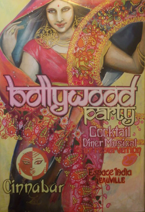 BOLLYWOOD - Painting,  64x48.4x0.5 in, ©2019 by Laurence Delmotte-Berreby -                                                                                                                                                                                                                                                                  Figurative, figurative-594, artwork_cat.Performing Arts, World Culture, Women