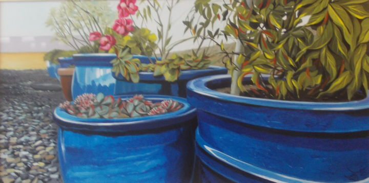 POTS BLEUS - Painting,  15.8x31.5x0.4 in, ©2019 by Laurence Delmotte-Berreby -                                                                                                                                                                                                                                                                                                              Figurative, figurative-594, Flower, Garden, Home, Nature