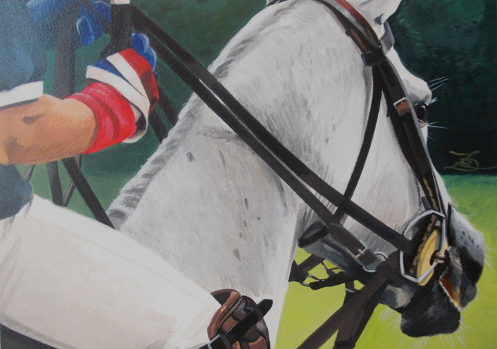 POLO - Painting,  11.8x15.8x0.6 in, ©2019 by Laurence Delmotte-Berreby -                                                                                                                                                                                                                                                                  Figurative, figurative-594, Animals, artwork_cat.Horses, artwork_cat.Sports