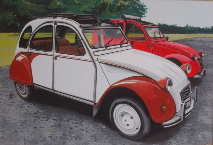 DIANES - Painting,  15.8x23.6x0.4 in, ©2019 by Laurence Delmotte-Berreby -                                                                                                                                                                                                                      Figurative, figurative-594, Automobile, Car