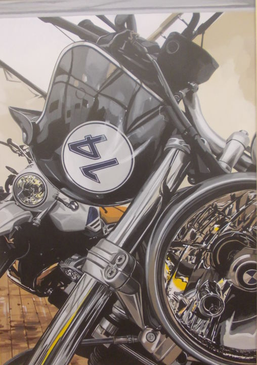 BMW14 - Painting,  23.6x15.8x0.4 in, ©2019 by Laurence Delmotte-Berreby -                                                                                                                                                                          Figurative, figurative-594, Motorcycle