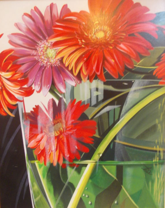 GERBERAS - Painting,  31.5x23.6x0.4 in, ©2019 by Laurence Delmotte-Berreby -                                                                                                                                                                                                                                                                                                              Figurative, figurative-594, Botanic, Flower, Garden, Nature