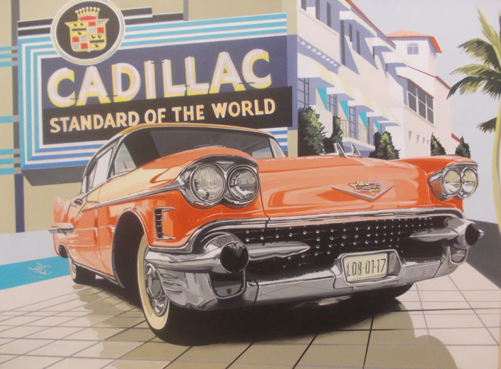 CADILLAC - Painting,  23.6x31.5x0.4 in, ©2019 by Laurence Delmotte-Berreby -                                                                                                                                                                                                                      Figurative, figurative-594, Automobile, Car