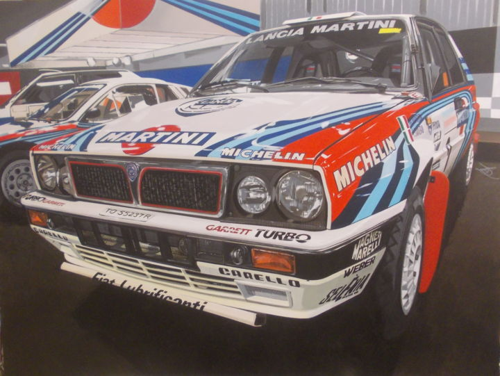 LANCIA DELTA MARTINI - Painting,  23.6x31.5x0.4 in, ©2019 by Laurence Delmotte-Berreby -                                                                                                                                                                                                                                                                  Hyperrealism, hyperrealism-612, Automobile, Motor, artwork_cat.Sports