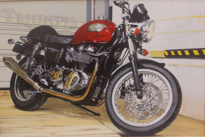 TRIUMPH Thruxton 900 - Painting,  15.8x23.6x0.4 in, ©2016 by Laurence Delmotte-Berreby -                                                                                                                                                                          Hyperrealism, hyperrealism-612, Motorcycle
