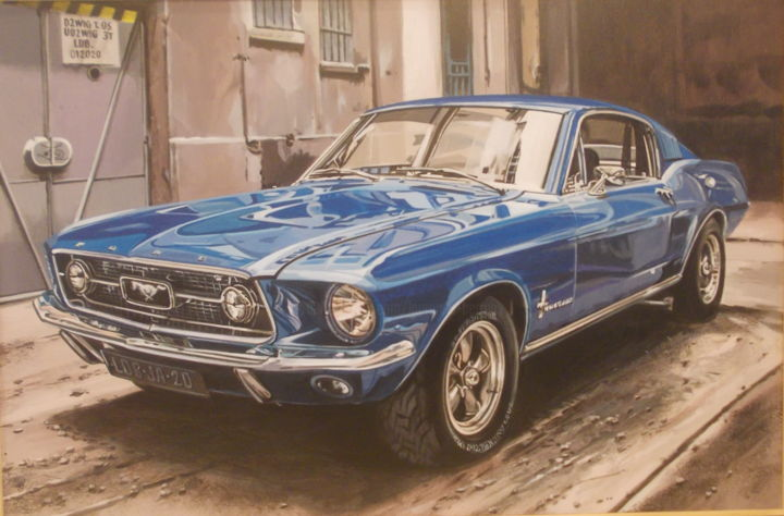 MUSTANG bleue - Painting,  15.8x23.6x0.4 in, ©2020 by Laurence Delmotte-Berreby -                                                                                                                                                                                                                      Hyperrealism, hyperrealism-612, Automobile, Car