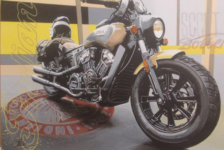 INDIAN Scout Bobber - Painting,  15.8x23.6x0.4 in, ©2020 by Laurence Delmotte-Berreby -                                                                                                                                                                          Hyperrealism, hyperrealism-612, Motorcycle