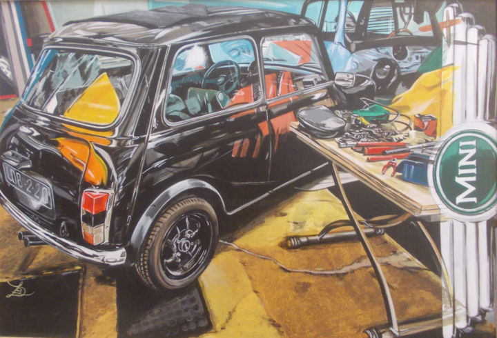 MINI/garage - Painting,  15.8x23.6x0.4 in, ©2020 by Laurence Delmotte-Berreby -                                                                                                                                                                                                                      Hyperrealism, hyperrealism-612, Automobile, Car