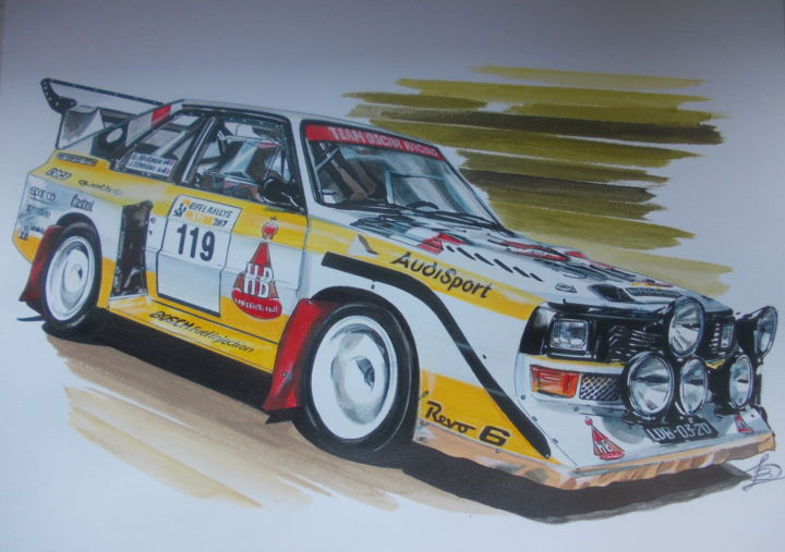 AUDISPORT - Painting,  9.5x12.6 in, ©2020 by Laurence Delmotte-Berreby -                                                                                                                                                                                                                                                                  Illustration, illustration-600, Automobile, artwork_cat.Sports, Car