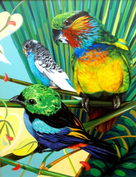 3 EXOTIC BIRDS - Painting,  23.6x18.1x0.4 in, ©2020 by Laurence Delmotte-Berreby -                                                                                                                                                                                                                                                                  Hyperrealism, hyperrealism-612, Animals, Nature, artwork_cat.Birds