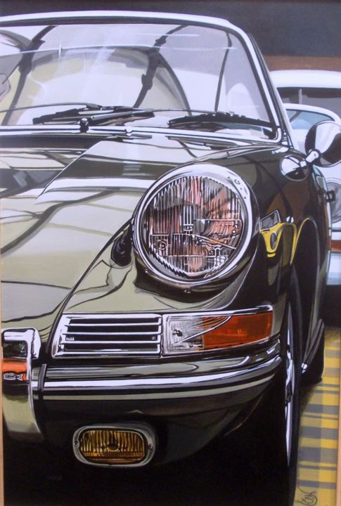 Porsche 912 - Painting,  23.6x15.8x0.4 in, ©2020 by Laurence Delmotte-Berreby -                                                                                                                                                                                                                                                                  Hyperrealism, hyperrealism-612, Automobile, artwork_cat.Sports, Car