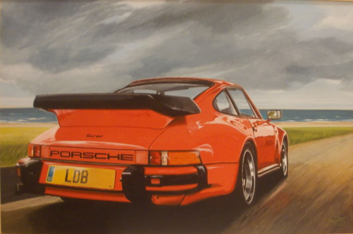 PORSCHE 930 - Painting,  15.8x23.6x0.4 in, ©2020 by Laurence Delmotte-Berreby -                                                                                                                                                                                                                      Hyperrealism, hyperrealism-612, Automobile, Car