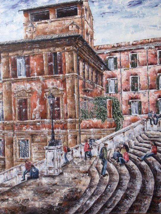 marches-piazza-di-spagna-rome-50f.jpg - Painting, ©2016 by Laurence Dubois -