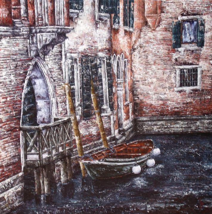 barque-a-venise-80-80cm.jpg - Painting, ©2016 by Laurence Dubois -