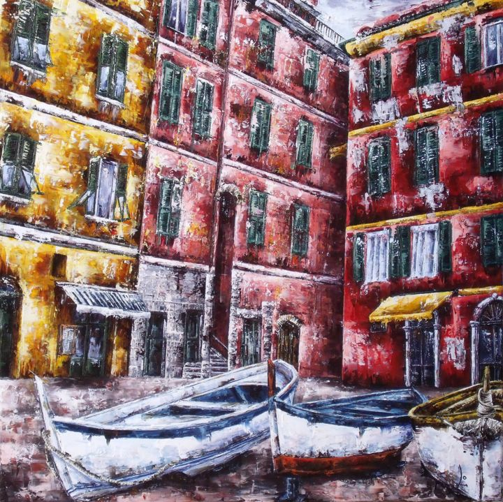 barques-a-genes80-80cm.jpg - Painting, ©2016 by Laurence Dubois -