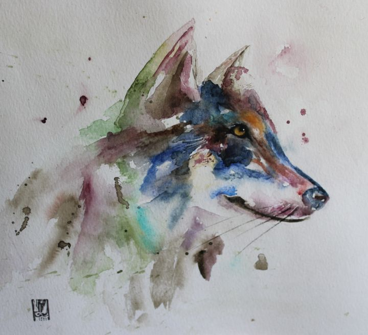 loup - Painting,  11.8x15.8 in, ©2018 by laurence perreau -                                                              Animals