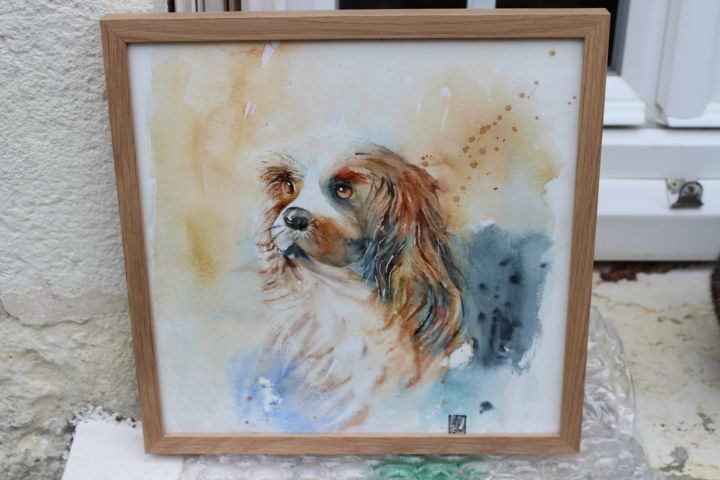 le petit chien - Painting,  15.8x11.8 in, ©2019 by laurence perreau -                                                                                                          Animals, Dogs
