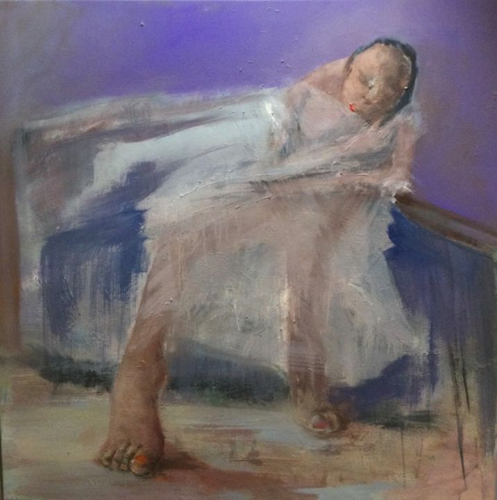 """Painting titled """"la danseuse"""" by Laurence Pustoc'H, Original Art, Oil Mounted on Stretcher frame"""