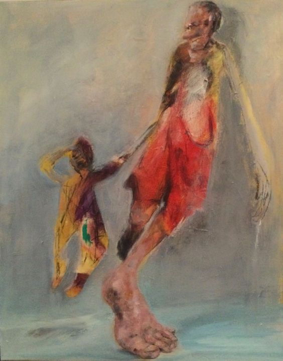 """Painting titled """"sauve-toi"""" by Laurence Pustoc'H, Original Art, Oil"""