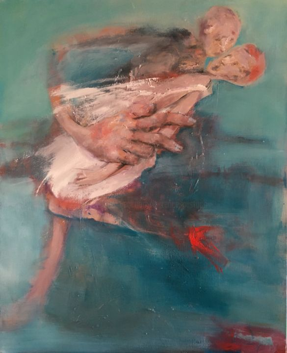 """Painting titled """"je me jette à ton c…"""" by Laurence Pustoc'H, Original Art, Oil Mounted on Stretcher frame"""