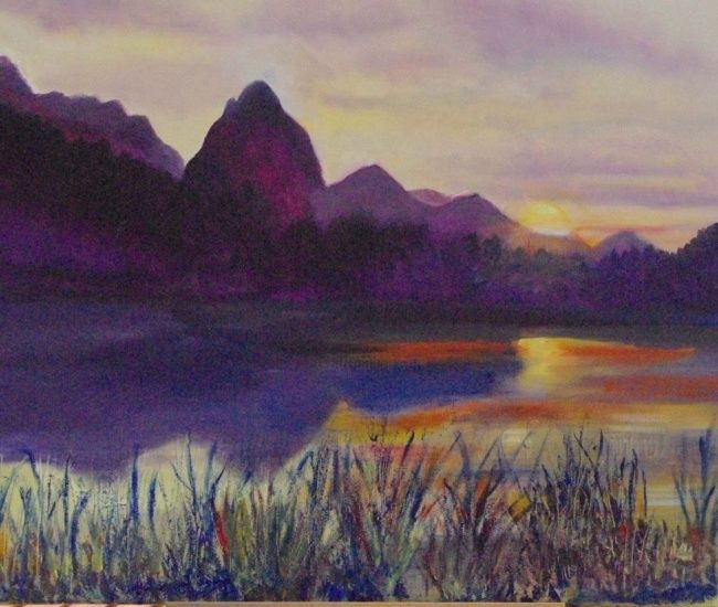 LAC SUISSE - Malerei,  18,1x21,7 in, ©2010 von Laurence Madec -
