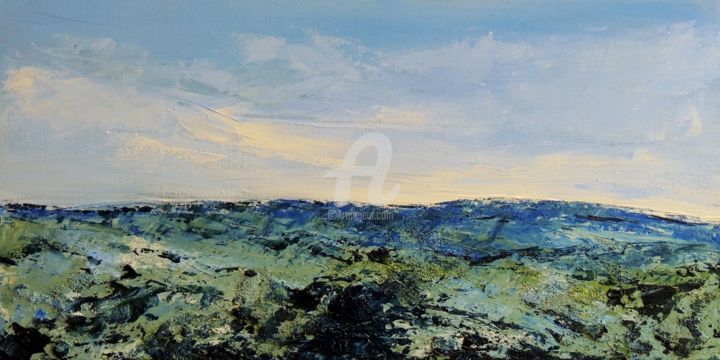 paysage marin - Painting,  15.8x31.5 in, ©2014 by Laurent chabrillat -                                                                                                                                                                          Abstract, abstract-570, Seascape