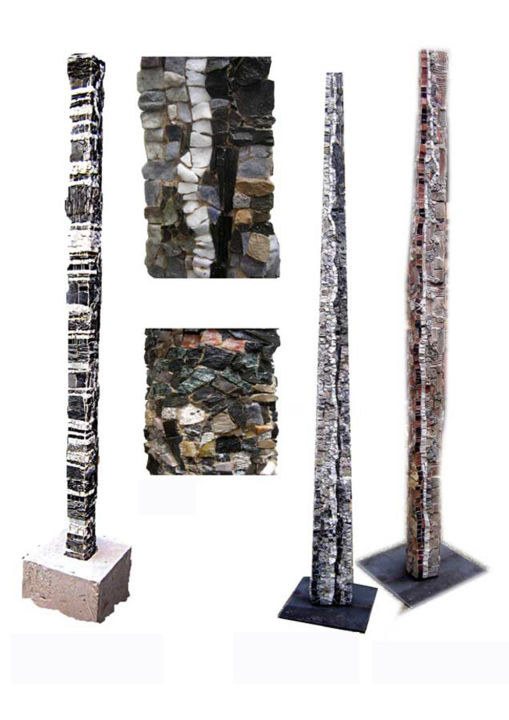 Totem.jpg - Sculpture,  78.7x4.3x4.7 in, ©2012 by Laurent Hunzinger -                                                                                                                                                                                                                                                                          Abstract, abstract-570, Stone, Abstract Art, Totem minéral